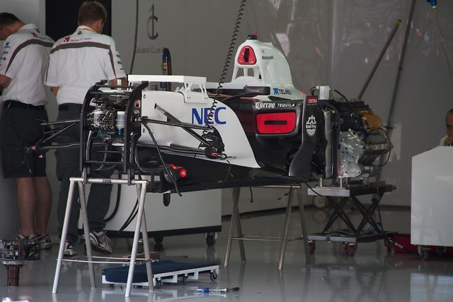 Sauber F1 pit garage