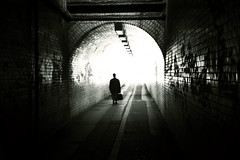 daywalker (matthewheptinstall) Tags: street light shadow subway alley tunnel case figure