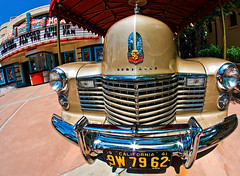 1941 Cadillac on Sunset Boulevard (David.Stewart) Tags: park architecture orlando florida disney resort fisheye disneyworld wdw waltdisneyworld themepark sunsetboulevard lakebuenavista 2011 hollywoodstudios disneyshollywoodstudios
