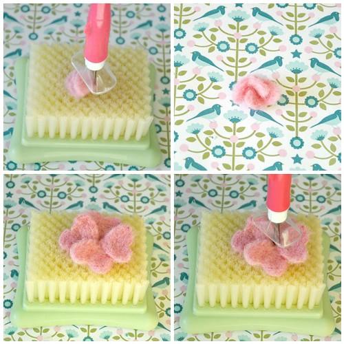 Needle felting roses steps 13-16