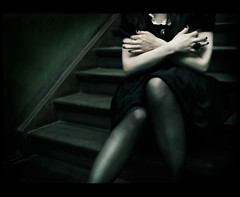 the sign (Claudia Hantschel) Tags: portrait woman black girl strange female stairs dark scary hands play dress god ring ill claudia tomorrow hantschel