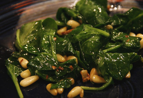 spinach with pine nuts