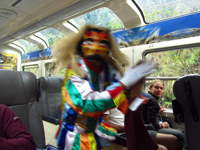 Entertainment on the train ride from Aguas Calientes to Ollantaytambo