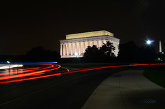 Speeding by the Lincoln Memorial at night [EXPLORE] (WilliamMarlow) Tags: longexposure dc washington nikon cc creativecommons lincolnmemorial dcist washingtonmonument d7000 nikond7000