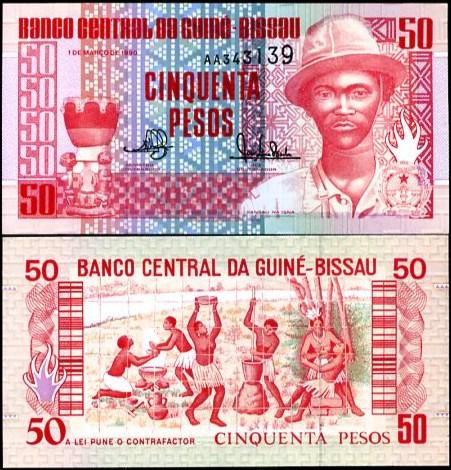 50 Pesos Guinea Bissau 1990, Pick 10