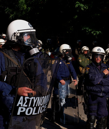 Greek riot police protecting government building by Teacher Dude's BBQ