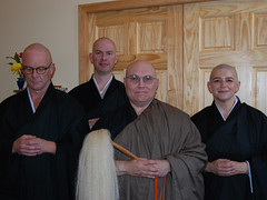 Ordination ceremony: Nyozan, Keizan, Taigen, & Eishin