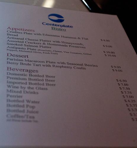 Centreplate Bistro menu