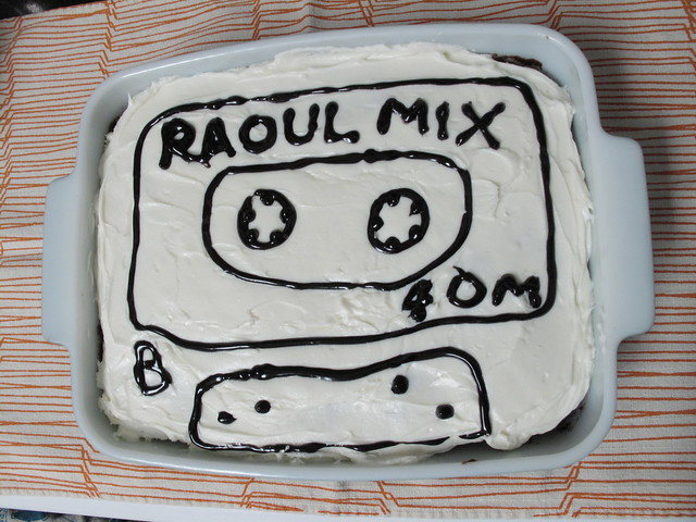 For Raoul's birthday, a cassette cake.