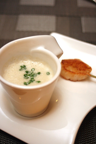 Packham Pear Soup with Scallop Skewer