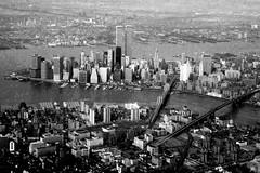 "Flying by Lower Manhattan, 1976 (filtered through ""infrared"") (Bill in DC) Tags: nyc newyorkcity film worldtradecenter flight konica slides flights 1976 ektachrome64"