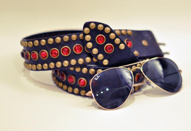 studded belt with gemstones+circus belt+vintage leather belt+ray ban aviator sunglasses