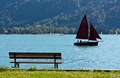 Passing by (juampatronics) Tags: summer alps sailboat alpes germany bayern deutschland interesting sommer alemania alpen segelboot tegernsee myfavs velero colorphotoaward panoramafotogrfico mygearandme mygearandmepremium juampatronics