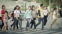 crossing blue (puguhindra) Tags: street blue girls woman girl indonesia asian nikon women aqua southeastasia flickr crossing dof bokeh candid streetphotography 85mm yogyakarta jogjakarta nikkor cinematic zebracross af85mmf14d flickraward d7000 nikond7000