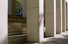 HIDDEN BRANCHES (La Branaro) Tags: olympus om 1 om1 zuiko50mm film 35mm fujicolor100 fujicolor ottawa ontario canada nationalcapital nationalgalleryofcanada nationalgallery pillars courtyard concrete moshesafdie modernarchitecture architecture ultramodern hiddentrees branches 50mmf18 standardzuiko