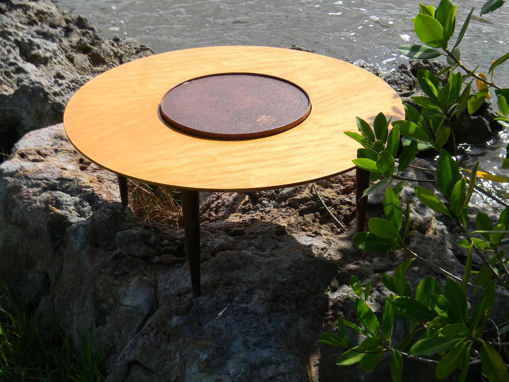 MID CENTURY DANISH MODERN LAZY SUSAN COCKTAIL / COFFEE TABLE