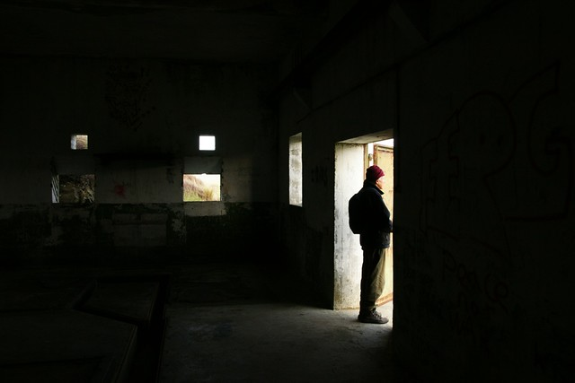 Standing and Staring - Looking out of WWII bunker, Godley's Head, Christchurch, New Zealand