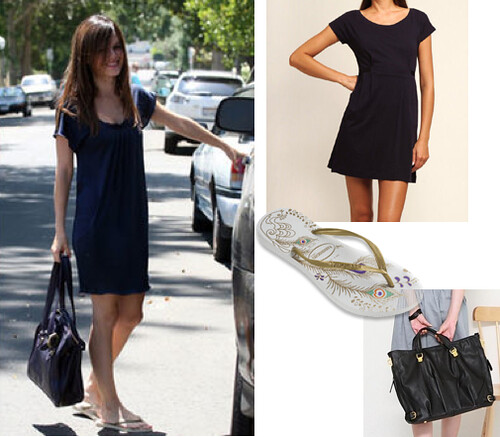 Simple and chic- Rachel Bilson in a navy T-shirt dress & metallic sandals.