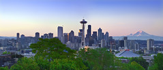 Good Morning Seattle - Panorama (David Shield Photography) Tags: seattle city morning panorama color sunrise cityscape queenanne explore kerrypark washingtonstate mtrainier urbanlandscape explored