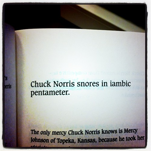 Chuck Norris snores on iambic pentameter.