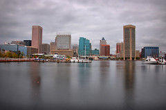 Baltimore Skyline in HDR (Seth Oliver Photographic Art) Tags: buildings reflections iso200 nikon delay skyscrapers shot time tripod cityscapes maryland file baltimore rivers hdr pinoy innerharbor urbanscapes ballhead longexposures patapscoriver 10secondexposure d40 triggered wetreflections hdrsingle 10stopndfilter manualmodeexposure highdynamicrangeimages setholiver1 aperturef220 daytimelongexposures 18105mmnikkorlens ballheadtripodmountedshot vrmodeoff photographypseudo