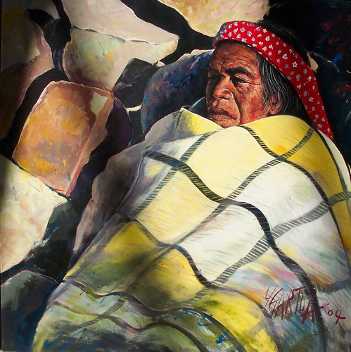 Native with Blanket - Painting - Realism