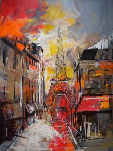 Eiffel Tower in Red - Painting - Impressionistic