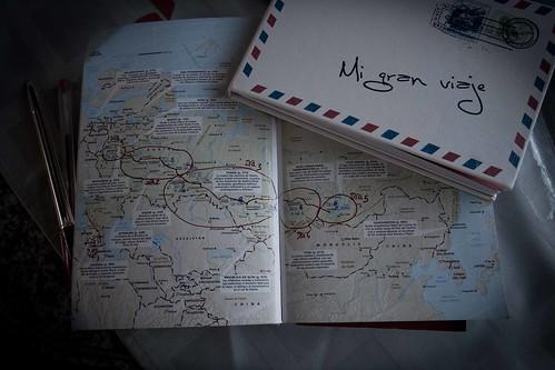 Cuaderno y mapa viaje