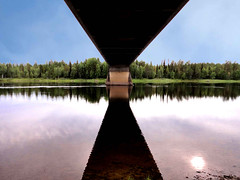 Kvikkjokk - Under Bridge (Olof S) Tags: bridge wallpaper sky lake reflection tree nature water skyline rural river landscape photography landscapes countryside photo interesting scenery europe view sweden sony horizon schweden country swedish lapland vegetation environment nordic sverige bro northland pastoral scandinavia northern paysage brcke fluss landschaft paesaggio suede suecia norrland landskap manzara svezia lakescape szwecja vindellven