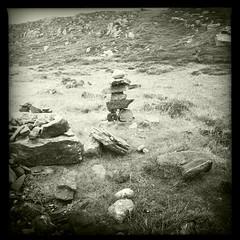 inukshuk at carloway broch, isle of lewis