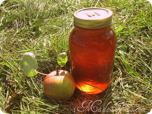 apple and jar of local honey
