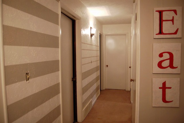 During: Painting a Striped Hallway