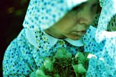 ghost in you (bokeh burger) Tags: blue green film floral 35mm 50mm xpro fuji pentax k1000 doubleexposure crossprocess release makeup cable shutter softfocus ghosts bonnet provia selfie 100f