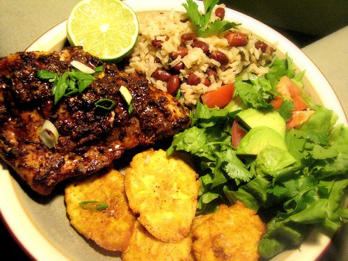 Jamaican Jerk Chicken With Rice Pea And Tostones Fried Green Plantains We Are Never Full