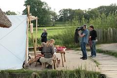 """NDR-Kamerateam von """"Mein Nachmittag"""" dreht eine Szene bei den Wikinger Häuser in Haithabu – Museum WHH 16-09-2011"""
