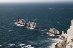 The Needles, a classic view (smir_001 (on/off)) Tags: old autumn sea england sky lighthouse white water clouds landscape rocks waves battery cliffs september isleofwight british needles isle wight canon7d
