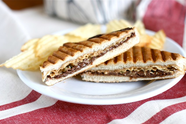Jif Peanut Butter, Nutella  and Potato Chip Panini