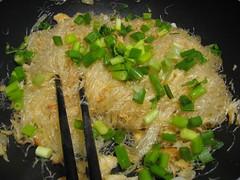 Adding green onions