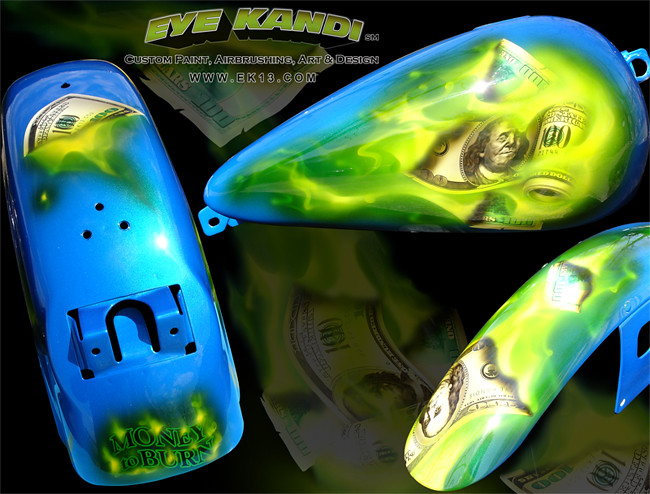 Money to Burn Harley Davidson Custom Paint set Right side tank