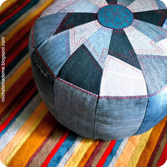 Denim Pouf close 1