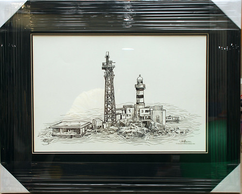 digital sketch of Pedra Branca lighthouse for Singapore Navy in frame with black border
