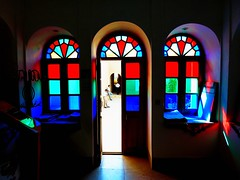 Colourful light reflections (peggyhr) Tags: door blue windows friends light red black green reflections iran courtyard backlit coatrack historicalbuilding musictomyeyes 3men wow1 thegalaxy peggyhr stainedglasswindowsanddoors vanagrammofontheoldgramophone thedigitographer 100commentgroup artofimages flickraward zensationalworld mygearandme lomejordemisamigos ringexcellence nossasvidasnossomundoourlifeourworld chariotsofartists thethreeangelslevel1blueangel blinkagainforinterestingimages theelitephotographerlevel1 redgroupno1 vivalavidalevel1 bluegroupno4 whitegroupno5 tourismofficearches p1130591ap daamghaan