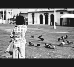 Shot this in the morning at MECCA MASJID while attending Scott Kelby Worldwide Photowalk. ( C H A I T U) Tags: morning boy white black canon 50mm photo kid opposite pigeon mosque photowalk feed grains capture masjid charminar 500d hws chaitu scottkelby worlwide adavi