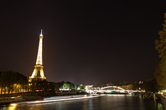Eiffel along Seine with blurred boats (bdevito) Tags: longexposure travel bridge vacation paris france seine night stars boats europe eiffeltower culture studyabroad