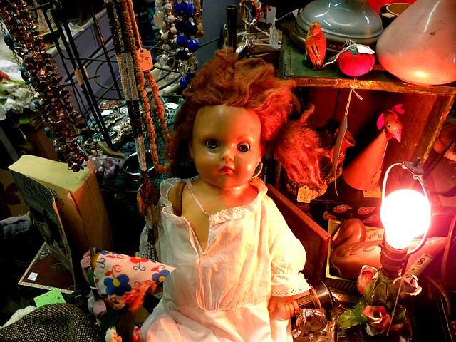 Creepy doll at a vintage store, Portland, Oregon