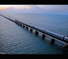 Pamban Bridge. (Ragavendran / Rags) Tags: ocean morning pink blue sea sky beach beauty train canon rail hues railwayline tamilnadu rameswaram cwc pambanbridge chennaiweekendclickers sx20is ragavendran pambanrailbridge