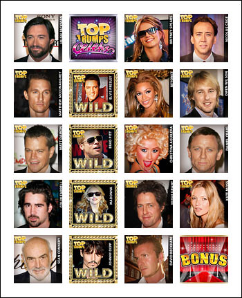free Top Trumps Celebs slot game symbols