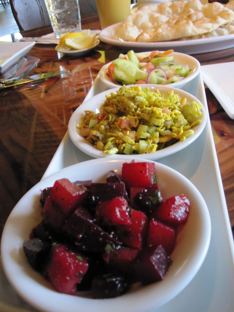 Three Salad Sampler, Beets, Bhel Puri, Cucumber
