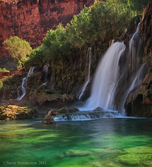 Navajo Falls Havasu Canyon (Steve Sieren Photography) Tags: blue orange green waterfall village turquoise indian grandcanyon lush supai havasupai havasucanyon navajofalls travertinepool