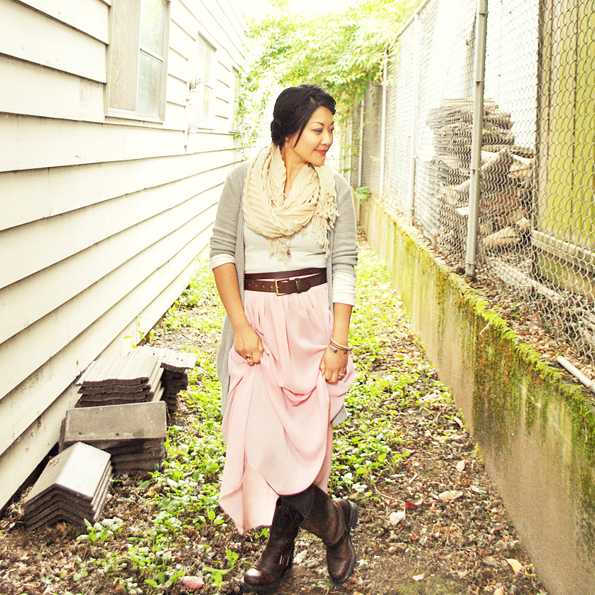 Outfit - Fall - Boho - Cream, Brown, Pale Pink, Light Gray - Sheer Maxi Skirt - Long Cardigan - Frye Boots - Heidi Braids